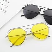 太陽鏡 ins超火的眼鏡黃色墨鏡男太陽鏡蛤蟆款透明黃網紅女潮牌復古大框   夢幻衣都