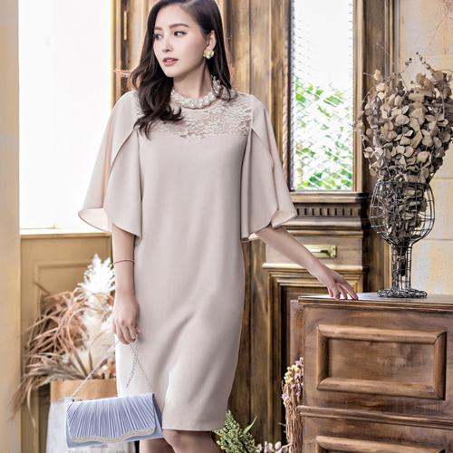 [88071-S]中尺碼*胸前透膚蕾絲荷葉袖名媛洋裝~美之札