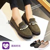【快速出貨】韓系時尚OL西施絨鎖鏈珍珠造型樂福平底鞋/3色/35-43碼 (RX1093-8-22) iRurus 路絲時尚