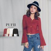 (現貨-紅/黑)PUFII-針織上衣 兩穿V領排釦喇叭袖針織上衣薄外套 4色-0920 現+預 秋【CP15178】