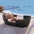 沙灘椅 戶外躺椅室外陽台露天花園庭院藤編躺床陽光房沙灘藤椅人躺窩沙發【快速出貨】