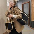 托特包女通勤復古百搭大學生大容量單肩帆布包【繁星小鎮】