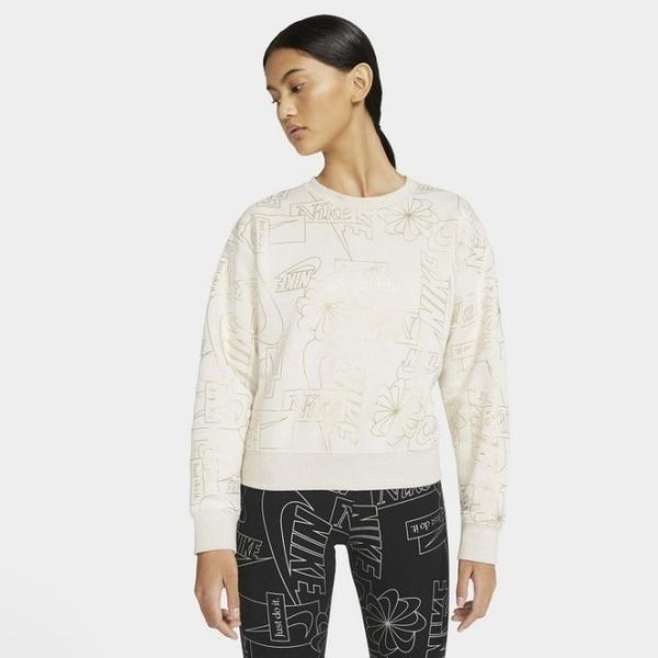 Y- NIKE Sportswear Icon Clash 滿版 米白 圖騰 線條 休閒上衣 長袖 透氣 舒適 CZ1869-104
