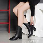 2019新款女短靴粗跟韩版百搭中跟女鞋高跟女皮靴中筒马丁靴瘦瘦靴『艾麗花園』