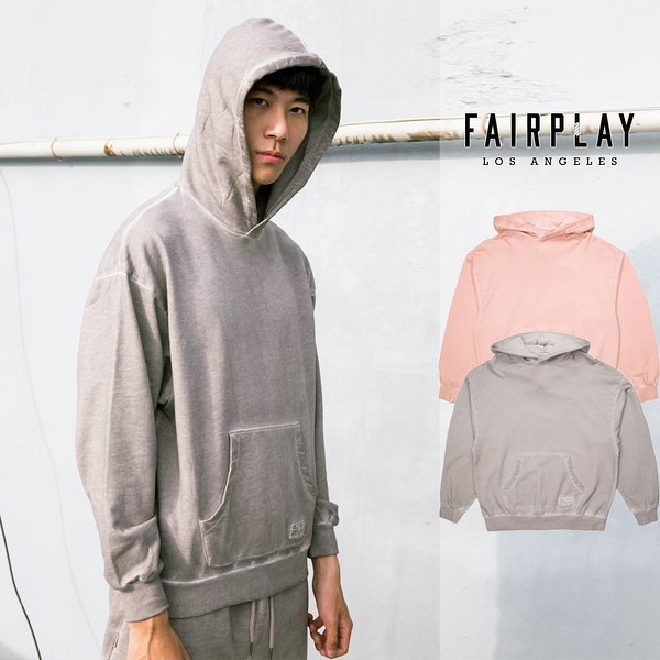 【GT】FairPlay Arty 灰粉 長袖 連帽T恤 棉質 仿舊 素色 寬版 寬鬆 帽衫 基本款 袋鼠口袋 Oversize