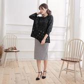 百搭黑色鏤空柔軟長袖毛衣上衣罩衫