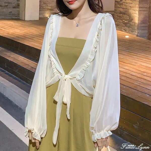 防曬衣女長袖2021夏季新款韓版寬松雪紡小披肩外搭開衫外套配裙子 范思蓮恩