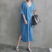 棉麻短袖洋裝連衣裙韓風 素雅大V領側開叉連身裙 艾爾莎【TGK6779】