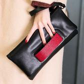 手拿包時尚女手包真皮女手腕包斜背鍊條小包撞色牛皮女包 愛麗絲精品