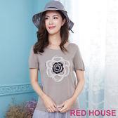 Red House 蕾赫斯-水鑽玫瑰花針織上衣(灰色)