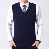 馬甲男秋冬季男士青年保暖大碼背心加厚V領無袖毛衣坎肩針織毛線馬夾LXY4344【Rose中大尺碼】