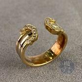 BRAND楓月 CARTIER 卡地亞 金色 開口造型 鑽戒 三條 戒子 配件 飾品 #49