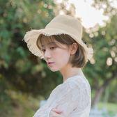 草帽 夏天防曬遮陽小清晰沙灘帽韓版日系文藝漁夫帽女