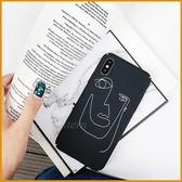 素描人臉手機殼OPPO R9 R9S R11 R11S R15 R17 F1S A3 手繪風格磨砂全包邊硬殼防摔硬殼防刮保護