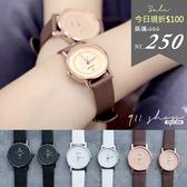 Leisure.香港FEIFAN。單鑽凹面刻度真皮革錶帶手錶/情侶對錶【tc434】*911 SHOP*