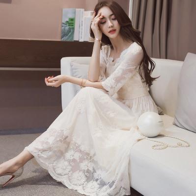 長洋裝 蕾絲短袖白色 伴娘 婚禮小禮服 連身長裙蕾絲連身裙 修身名媛氣質長裙1839DB203紅粉佳人
