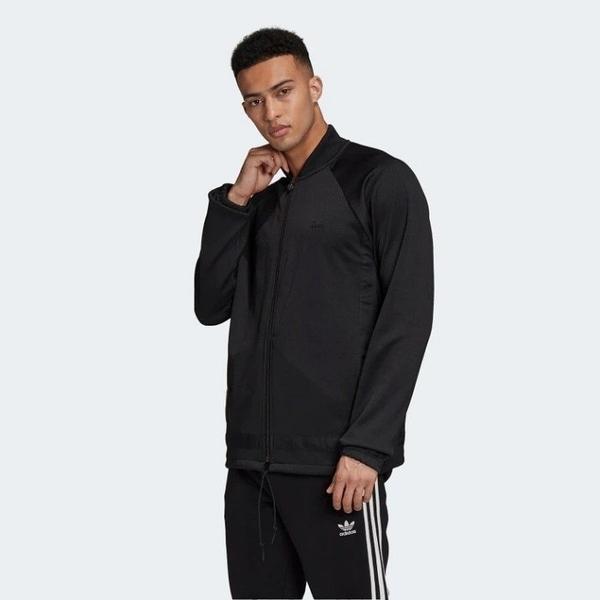J- adidas Orginals WARM-UP 男款 立領 運動 外套 黑色 金標 口袋 三葉草 GK0662