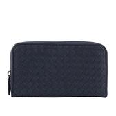 【BOTTEGA VENETA】小羊皮編織ㄇ型拉鍊長夾(海洋藍) 518389 VBG91 4114