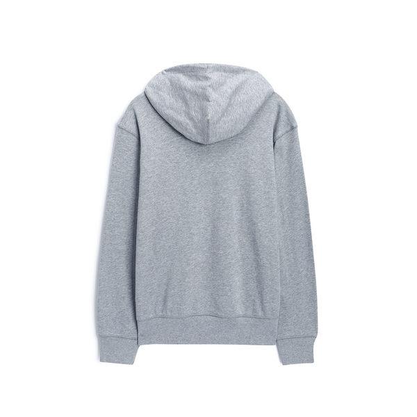 Gap男裝 簡約純色Logo連帽休閒上衣 490384-麻灰色