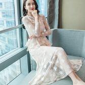 美之札[98685-QF]蕾絲玫瑰花V領顯腰感性女人味長洋裝 ~
