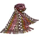 KENZO時尚民族風純棉圍巾(紅色)084035-1