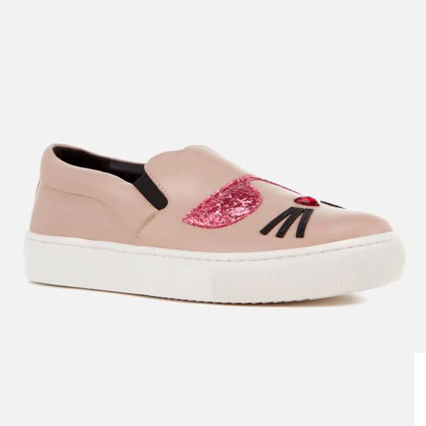 Karl Lagerfeld 卡爾 老佛爺 女鞋 KUPSOLE貓咪造型樂福鞋-粉紅