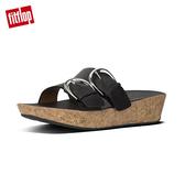 【FitFlop】軟木塞皮革雙扣環雙帶式涼鞋(黑色)