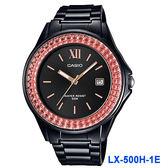 【僾瑪精品】CASIO 卡西歐 晶鑽閃亮大三針日期女錶-LX-500H-1E-黑+橘色水晶