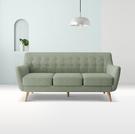 【歐雅系統家具】斯蒂納拉扣設計布沙發-三人座-灰綠色 / 現成沙發 / 沙發