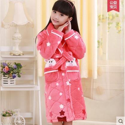 熊孩子☃秋冬季加厚款夾棉睡袍法蘭絨兒童睡衣女童裝寶寶珊瑚絨浴袍家居服(330)