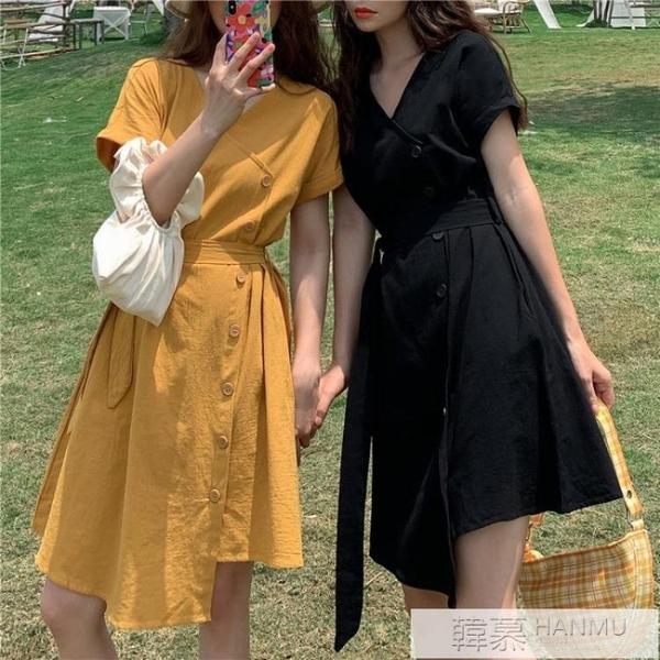 法式不規則短袖洋裝女學生2020新款夏季V領斜襟收腰繫帶短裙子  女神購物節