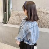 女童牛仔外套 童裝春秋季新款 兒童寬鬆長袖外衣 女童甜美珍珠翻領牛仔外套-Ballet朵朵