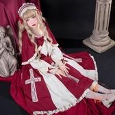 洛麗塔lolita十字契約op大裙擺暗黑哥特長袖連身裙洋裝【橘社小鎮】
