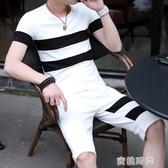 兩件夏季套裝男士短袖T恤2020新款潮流韓版休閒帥氣衣服一套男裝『蜜桃時尚』