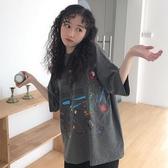 網紅港風大版寬鬆ins短袖t恤女2019韓版學生原宿bf風百搭蹦迪上衣