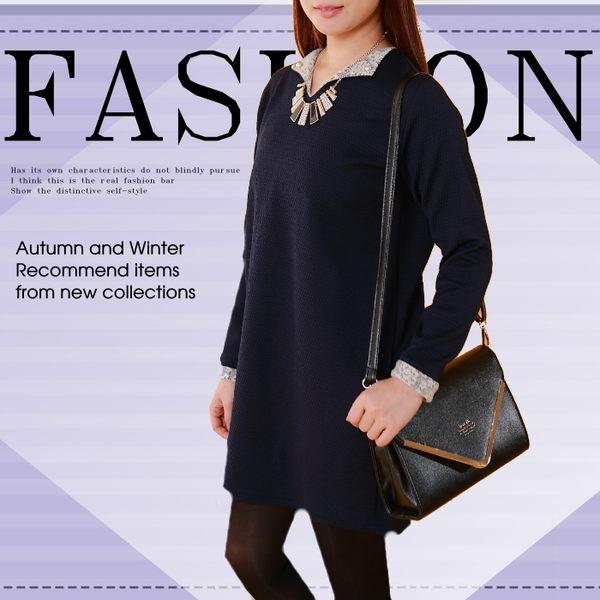 現貨* 簡約設計款領珠袖口反摺蕾絲花連身裙/洋裝/長上衣【OC 0561 RO】 Alyssa shop