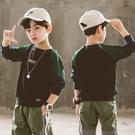 男童T恤 春裝長袖T恤2021新款中大童衛衣男孩上衣休閑拼色打底衫【牛年大吉】