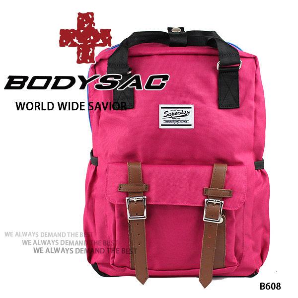 粉紅-機能小後背包 (內有筆電夾層) AMINAH~【BODYSAC B608】