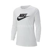 Nike 長袖T恤 NSW Long Sleeve Shirts 白 黑 女款 大學T 運動休閒【ACS】 BV6172-100