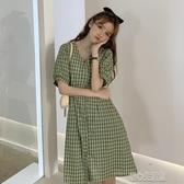 洋裝夏季新款復古格子繫帶收腰A字裙子顯瘦韓版時尚法式洋裝女 暖心生活館