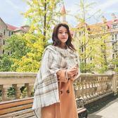 圍巾 新款秋冬季圍巾韓版女士加厚學生保暖披肩百搭仿羊絨格子圍脖兩用 99免運 萌萌