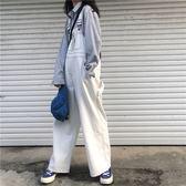 秋季女裝復古明線牛仔褲背帶褲寬鬆