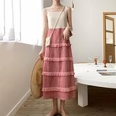 兩件套洋裝 2021夏季新款法式復古收腰修身顯瘦吊帶裙子假兩件套氣質洋裝女 夏季新品