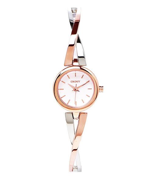 DKNY 交織浪漫玫瑰金色手環女性手錶 (NY2172) -白面x玫瑰金/20mm
