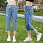 少女七分褲女孩夏裝短褲韓版寬鬆夏季初中學生牛仔褲中褲     伊芙莎