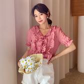 雪紡上衣雪紡短袖開衫薄款單件上衣女士修身通勤短款仙女T3F 315 A 胖妞衣櫥