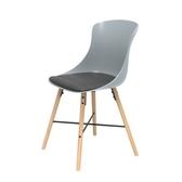 (組)特力屋萊特塑鋼椅-櫸木腳架30mm+灰椅背+灰座墊