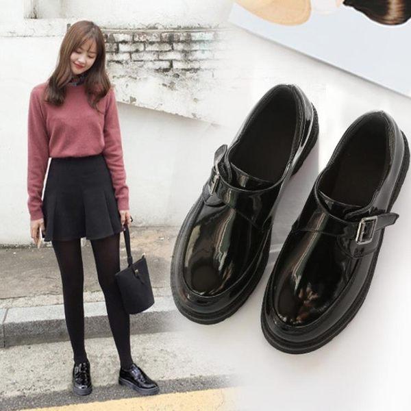 單鞋小皮鞋女春季新款韓版百搭學生原宿英倫女鞋平底中跟學院風潮 喵小姐