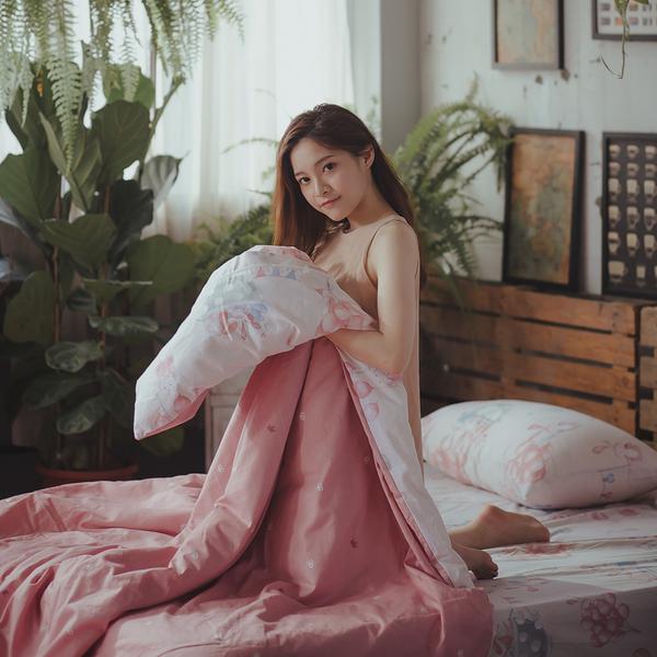 樂園氣球兔 K2 King Size床包薄被套四件組 純精梳棉 台灣製
