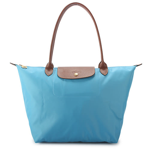 LONGCHAMP 經典長提把中型尼龍摺疊水餃包(蔚藍色)480132-807